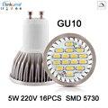 10X Lampada GU10 Dimmable LED light bulbs 5W 16 pcs leds  SMD 5730 AC 220V LED Spotlight Lamparas Spot light Candle Luz Spot luz