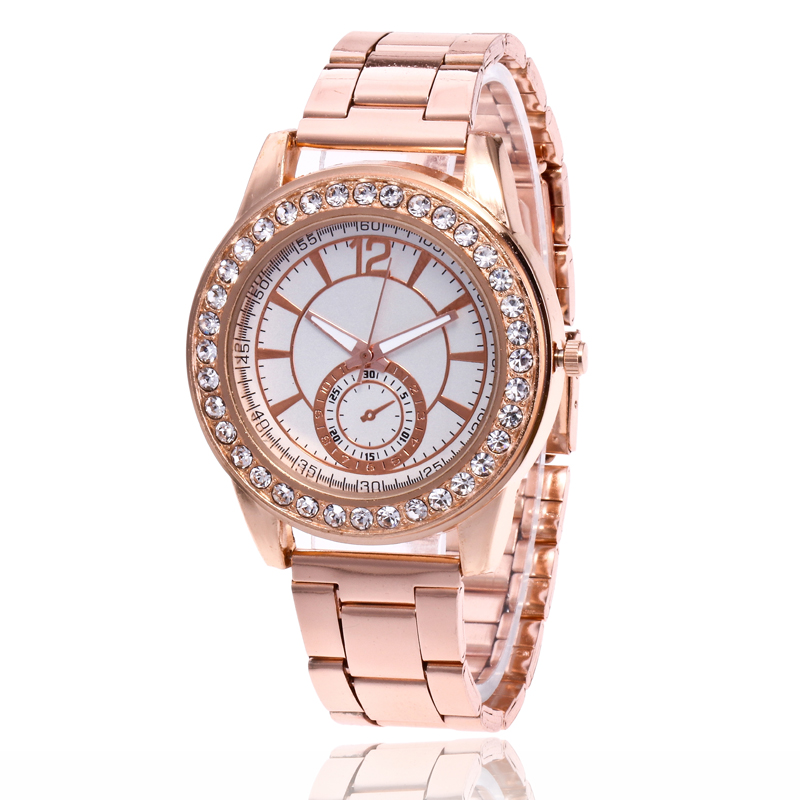 New Luxury Brand Gold Crystal Casual Quartz Watch Women Stainless Steel Dress Watches Ladies Wrist Watch Relogio Feminino Hot new luxury brand dqg crystal rosy gold casual quartz watch women stainless steel dress watches relogio feminino clock hot sale