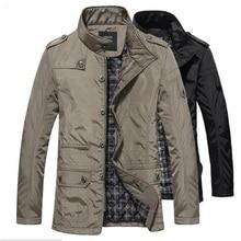 Autumn Men's Casual Bomber Jacket Solid Cotton Long Fashion Stand Collar Warm Jacket Coat Winter Parka Men Outwear Plus Size 5XL
