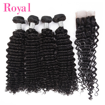 ROYAL Brazilian Hair Weave Bundles With Closure 4*4 Deep Wave Human Hair Bundles With Closure Remy Hair Extension Lace Closure
