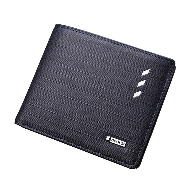 Bogesi Solid Men's Leather Wallet Short Designer Purse For Man Credit Card Holder Male Dollar Money Bag