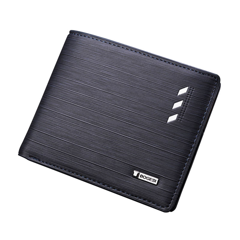 Famous brand solid men's leather wallet short desigs