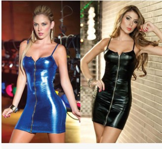 Sexy Lingerie Strap Metal Zipper Woman Shiny Leather Skirt Teddy Club Costume Erotic Lingerie Sexy Underwear Thin Dress