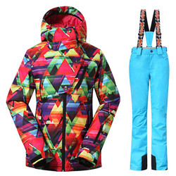 High Quality woman Snow suit sets Snowboarding jackets Outdoor Sports skiing suit sets Waterproof Warm Costume Ski jackets+pants