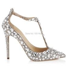 Fashion Rhinestone Women Pumps Pointed Toe Gladiator 9CM High Heels Ankle Buckle Prom Wedding Dress Shoes Woman