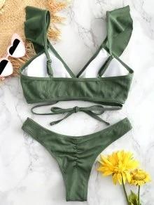 Push up Bikini Set Women Halter Ruffle Biquini Swimwear Low Waist Sexy Swimsuit Women Beach Bathing Beachwear Bandage Bikini Set