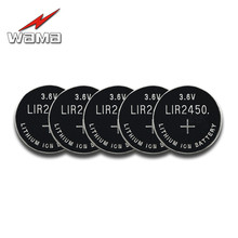 5x Wama New 3.6V LIR2450 Rechargeable Coin Batteries 120mAh 500 Times Lithium Cell Button Battery Replaced CR2450 in Bulk