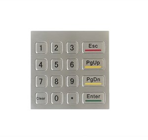 Waterproof vandal-proof 16keys mini stainless steel metal numeric keypad, Rugged number keypad,custom keypad,metal Kiosk keypad(China)