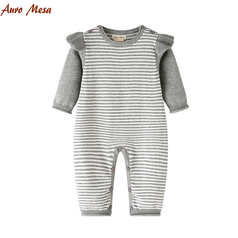 New Spring Baby Knitted Romper 100%Cotton Striped Girl Jumpsuit Infant Playsuit Onesie 2017 new baby romper 100
