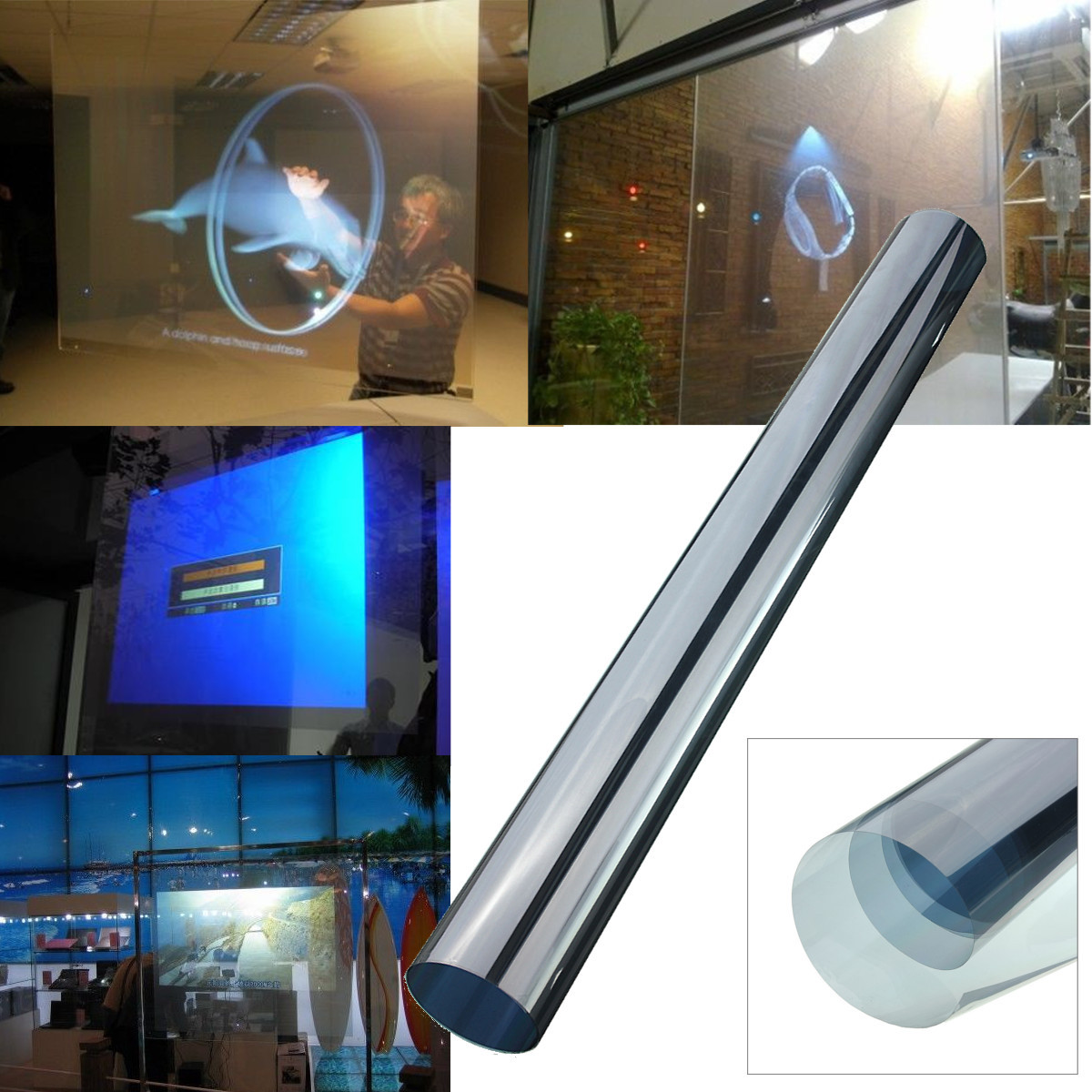60x120CM Self Adhesive Holographic Rear Projection Film Screen Window Display Self Adhesive Transparent Rear Projection Foil