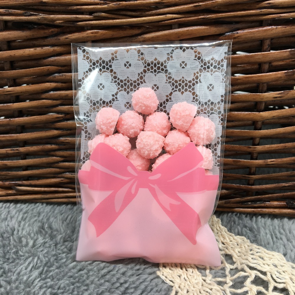 50pcs/lot Mini flower lace bow gift packaging bag self adhesive bags ...