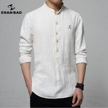 SHAN BAO marke männer leinen langärmeligen t-shirt 2017 herbst luxus hochwertigen stickerei normallackhemd männlichen weißen blau
