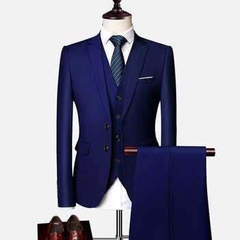 Vestito Maschio 3 Pezzi regalo di Affari Set Abiti da Uomo Giacche di Grandi Dimensioni Boutique Vestito Sottile 2020 di Alta-end Convenzionale fit Festa di Nozze Regolare