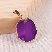 Natural Stone Agates Pendants DIY for Necklace Jewelry Making Agat Gold Pendant