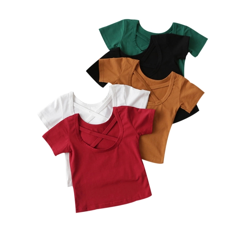 X Cross Back Design Baby Girls T-shirts All-match Children Summer Tops Tee Solid Color Girl T Shirt Cotton Blouse Kids Clothes X Cross Back Design Baby Girls T-shirts All-match Children Summer Tops Tee Solid Color Girl T Shirt Cotton Blouse Kids Clothes