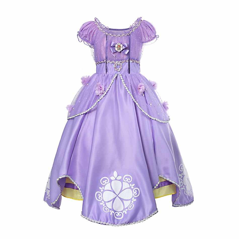 ... PaMaBa Girls Sofia the First Costume Dresses Kids Princess Sofia  Halloween Cosplay Frocks Children Summer Clothes ... d3076e5c6fb2