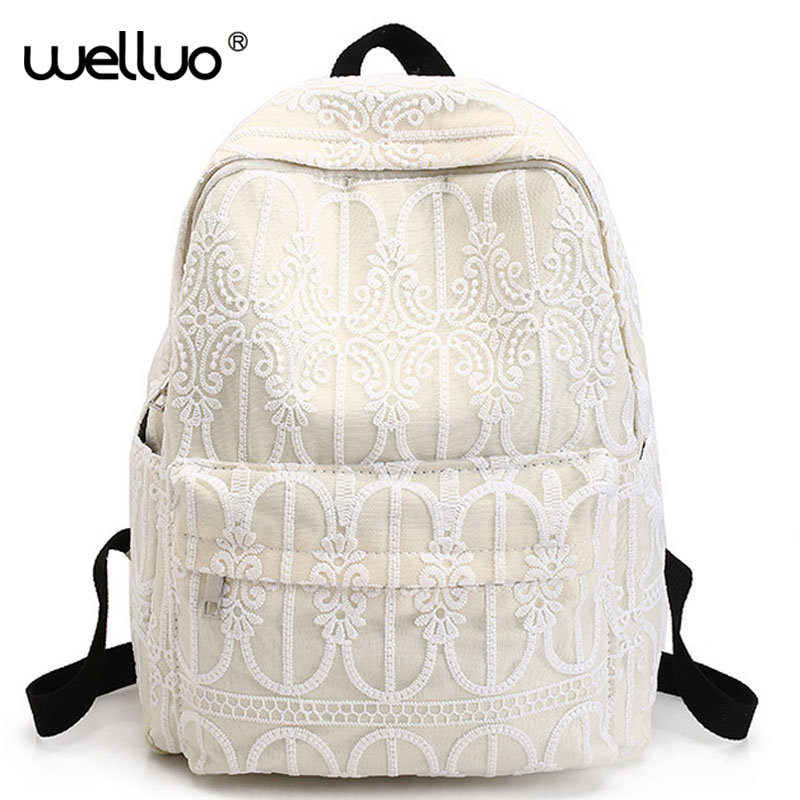 Korean Canvas Women Backpack Solid Flower LACE School Bags for Teenage Girls Cute Book bag Vintage Laptop Backpack Female XA629B 2016 hot sale fashion canvas cute mustache school book bag vintage women backpack casual women backpack