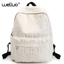 Корейский холст Для женщин рюкзак сплошной цветок кружева Школьные сумки для подростков Обувь для девочек Симпатичные Книга сумка Винтаж ноутбук рюкзак женский XA629B