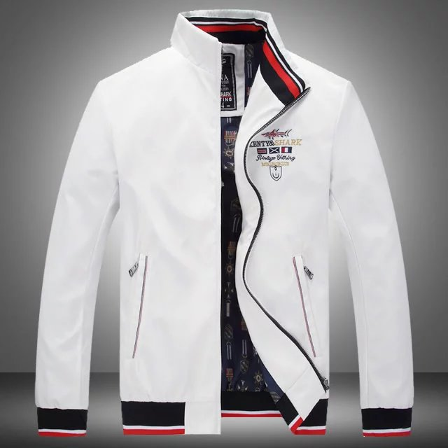 722c7340094287 New Brand Spring Autumn Men Casual Shark Jacket Coat Mens Fashion Washed  Cotton Brand-Clothing Jackets Male Zipper Coats