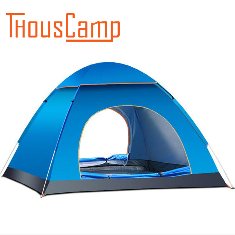 Outdoor 3-4 Person Automatic Quick Opening Tent Camping Tent pole fiberglass Three Season Tourist Tent two person tent outdoor camping tent kit fiberglass pole water resistance with carry bag for hiking traveling 200x120x110cm