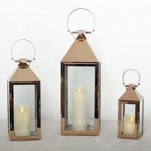 Maroko różowe złoto latarnia świecznik europejskie uchwyty świeczników kryształowych szklana świeca uchwyt romantyczna świeca uchwyt ozdobny