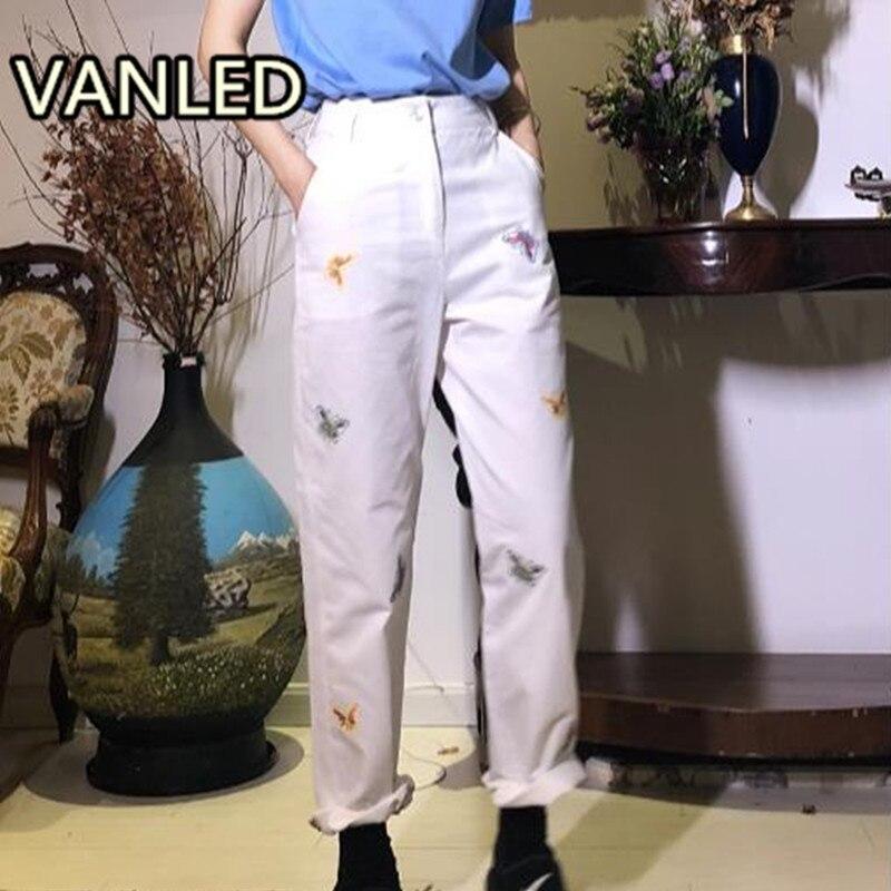Taille haute D'été Droite Lâche Pantalon Papillon Broderie Blanc Femme Mince Long Pantalon