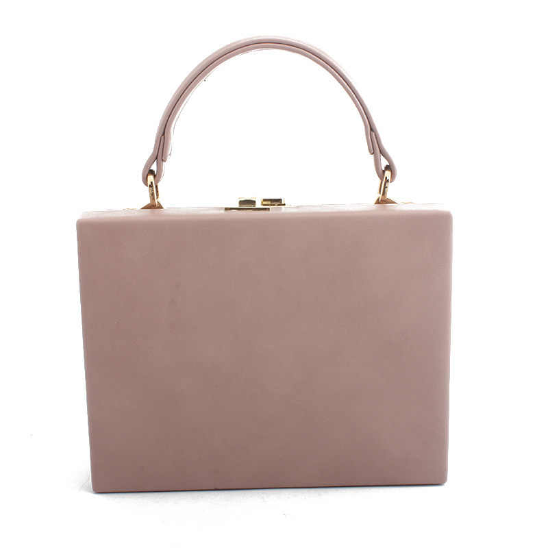 Lady Dinner Bag Female Evenning Top-handle Handbag With Lock Flap Portable Diagonal Temperament Square Artificial Leathesr Bag