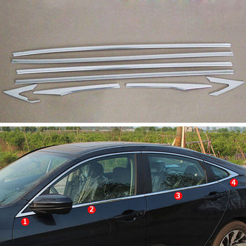 8pcs/set Stainless Steel Bottom Door Window Sill Cover Trim Frame For 2016 2017 Honda Civic Car Styling Decoration Accessories