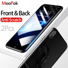 MooPok 2Pcs Front+Back Cover Tempered Glass For iPhone X 8 7 6 Plus Screen Protector For iPhone 8 6 7 5 5s Protective Glass Film