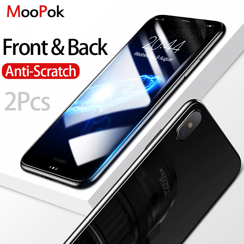 MooPok 2Pcs Front+Back Cover Tempered Glass For iPhone X 8 7