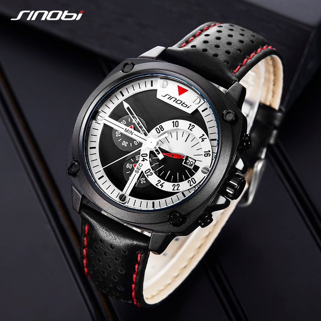 SINOBI 2019 Men Watches Waterproof Chronograph Black Leather Military Watch Men's Japanese Quartz Wristwatches Relogio Masculino