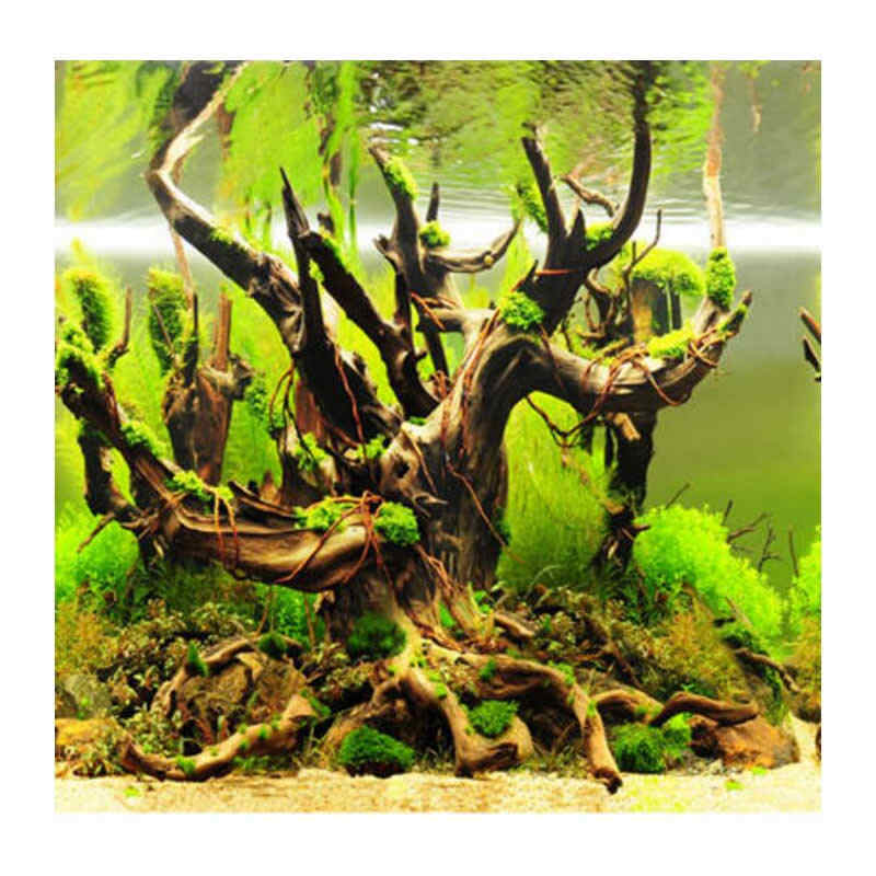 "9098 23.3"" x 60"" Double Sided Fish Tank Decoration Stone Grass / Withered-branch Aquarium Poster Background Picture Wall Decor"
