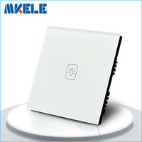 Touch Switch 1 Gang 2 Way White Crystal Glass Panel UK Standard Light Switch Touch Screen