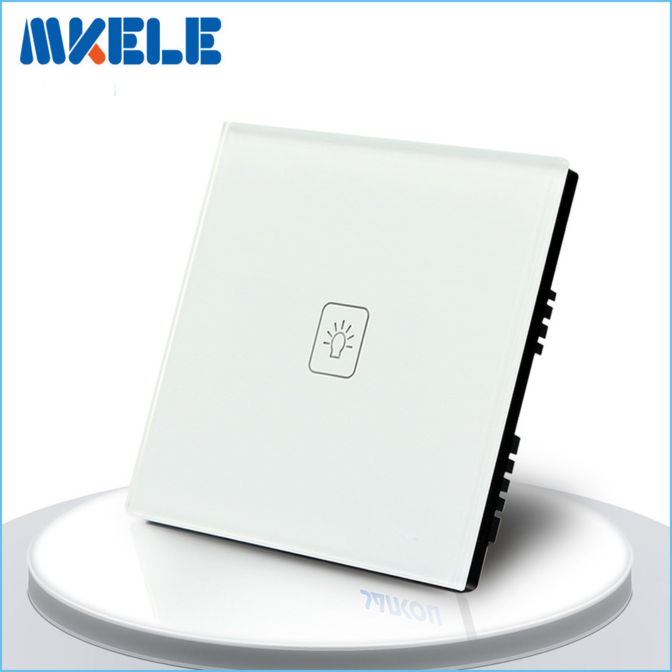 Touch Switch 1 Gang 2 Way White Crystal Glass panel,UK Standard Light Switch ,Touch Screen wall switch,wall socket for lamp free shipping smart home us au standard wall light touch switch ac220v ac110v 1gang 1way white crystal glass panel