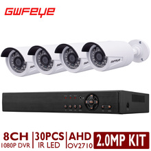 GWFEYE 8 Канал 1080 P FHD CCTV AHD DVR Системы Комплекты С 4 ШТ. 2.0 Мегапиксельной Пуля Наружного Видеонаблюдения камеры OV2710