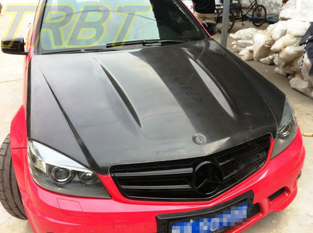C63 AMG Hood Carbon Fiber Front Engine Hood W204 Hood Bonnet Tuning Parts  Case For Mercedes Benz C Class C63 AMG 2008 2009 2010-in Hoods from