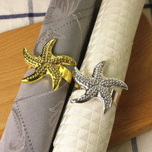 6PCS alloy napkin ring gold and silver mat towel buckle starfish hotel home meal jewelry ornaments