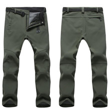 Winter Stretch Waterproof Fleece Pants Men Thick Warm Fleece Shark Skin Trousers Male Windbreaker Sweatpants Tactical