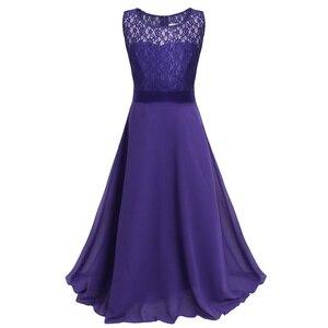 Image 5 - פרחוני תחרה פרח ילדה שמלות שיפון ללא שרוולים שמלת בנות מקסי שמלה לחתונה מסיבת תחרות נסיכת Vestidos נשף