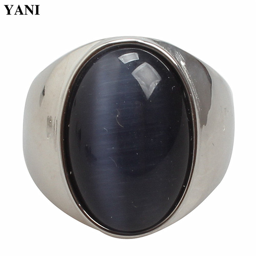 Ellipse Opal Stone 316L Titanium Steel Wedding Rings for Men Jewelry Engagement Ring Male Anel Bijoux Gifts High Quality