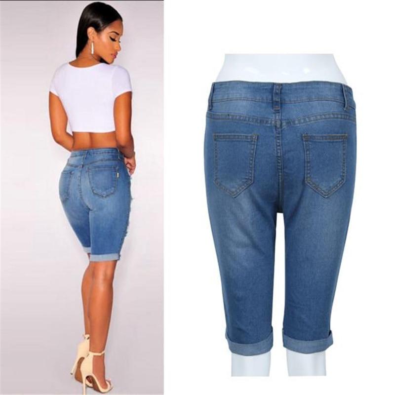 2018 pantalon femme sarouel Femmes Fille Sexy Jeans denim Summer Beach  Casual Trou Taille Haute jeans pantalons leggings Vicky dans Jeans de  Femmes
