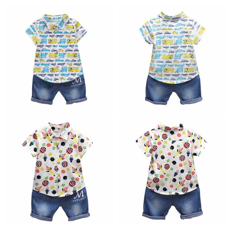 2pcs Summer Baby Boys Outfit Suit Fashion Print Top T-shirt + Denim Shorts Newborn Clothing Leisure Set