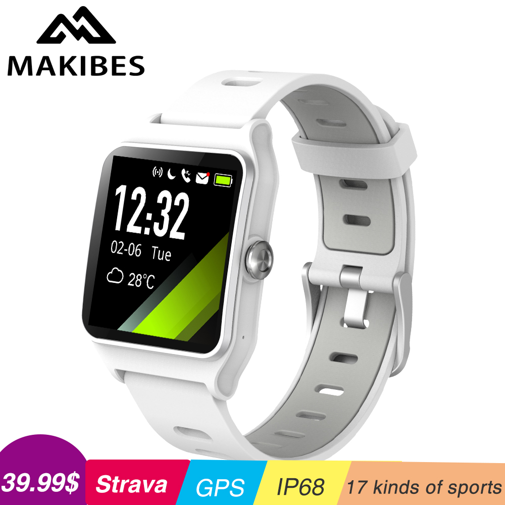 2019 Strava Makibes BR3 GPS 17 types de sport bande intelligente Bracelet de fréquence cardiaque IP68 étanche activité tracker montres pour cadeau