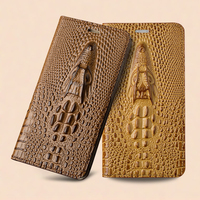 For Samsung Galaxy A5 2017 A5200 Magnetic Case 3D Crocodile Flip Luxury Real Genuine Leather Natural