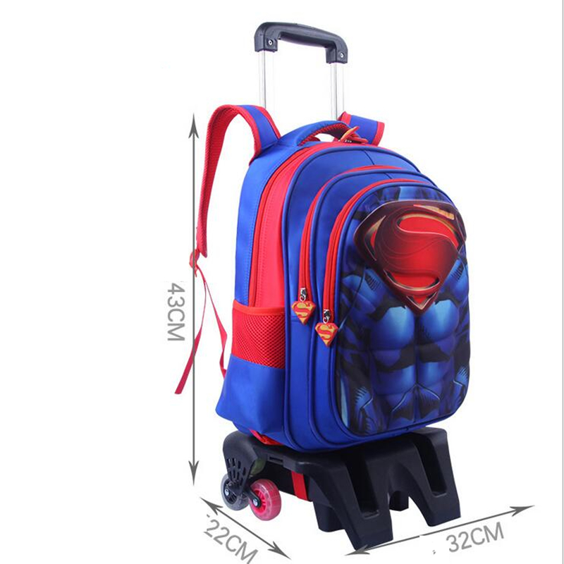 School Backpack Trolley 6 Wheeles Bag Strong Upstair Waterproof Wheeled Children School Bag Fashion Girls Kids Luggage