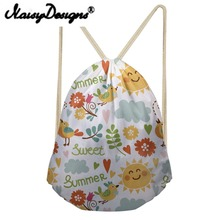 NOISYDESIGNS cartoon Cute pattern Printed Drawstring Backpack for Women lovely girl s school bags unisex kawaii