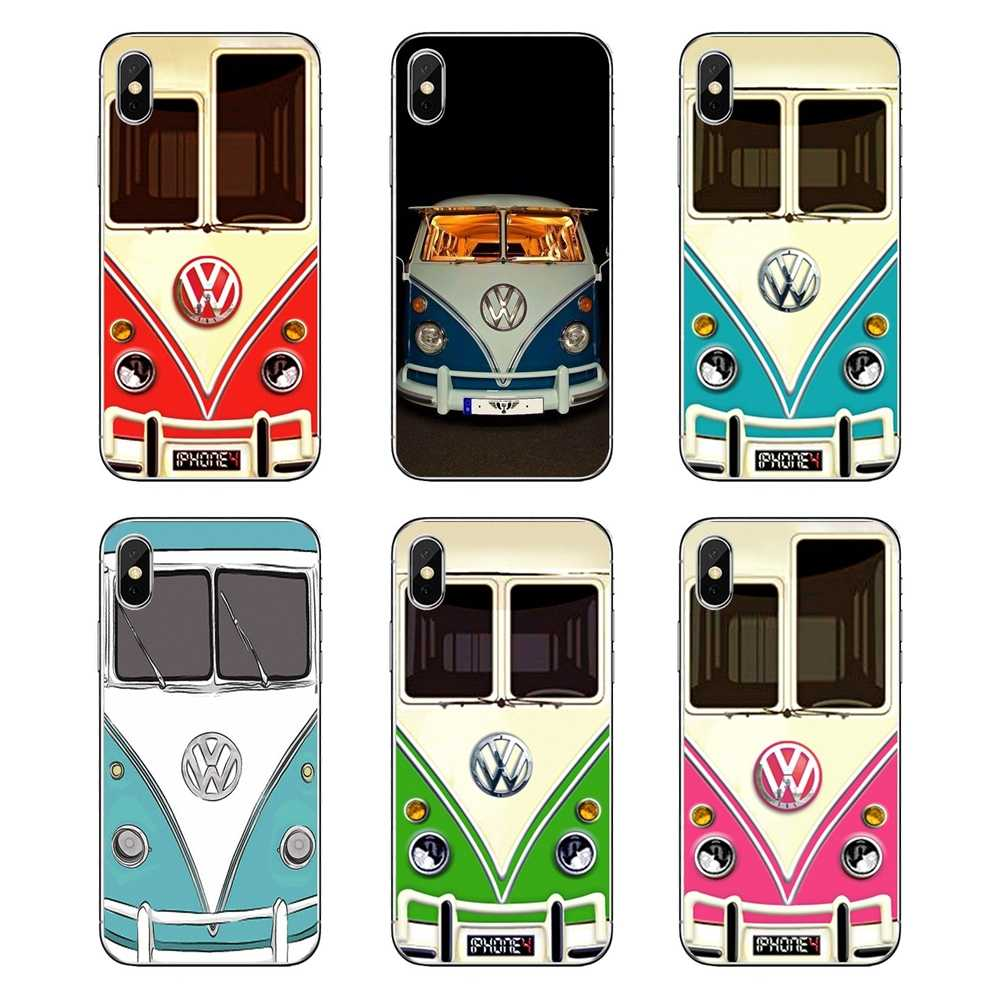 Vintage Volkswagen VW Minibus T1 Pink Blue BUS For iPod Touch iPhone 4 4S 5 5S 5C SE 6 6S 7 8 X XR XS Plus MAX TPU Silicone Case