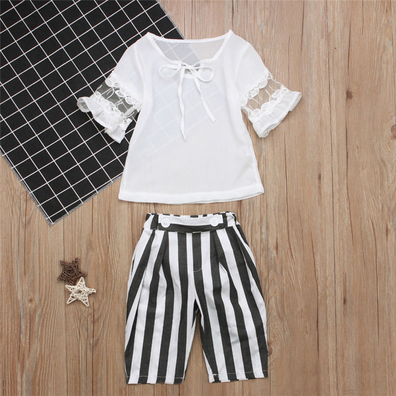 Summer 2018 Newborn Baby Girls Clothes Lace Short Sleeve Cotton T-shirt Tops Striped Pant 2PCS Outfit Toddler Kids Clothing Set