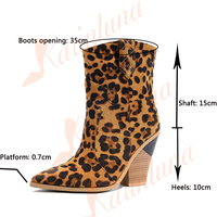 Brand Dropship Fashion Large Size 33 46 Vintage High Heels mid calf Boots Women Shoes Party Shopping Western Boots Shoes Woman