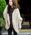 El otoño y el invierno de la aguja gruesa de manga murciélago loose knit cardigan sweater chal chaqueta de punto escudo engrosamiento femenino